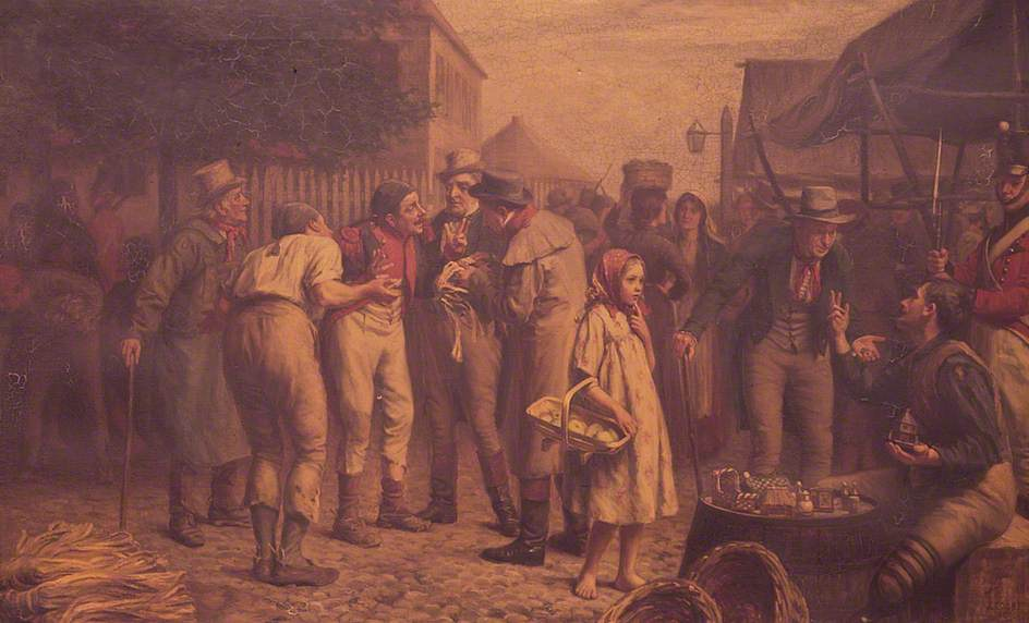 Straw plait merchants barter with French Prisoners of War at the Yaxley Barracks market